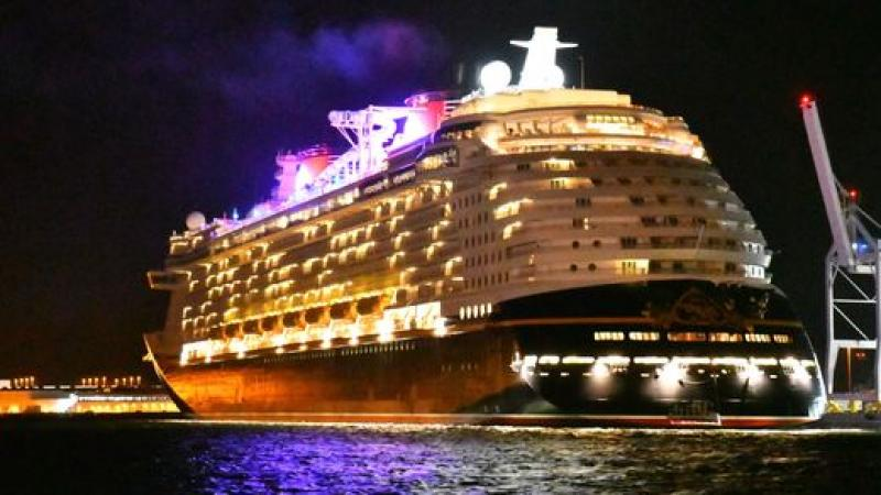 Disney cruise ship under led lights